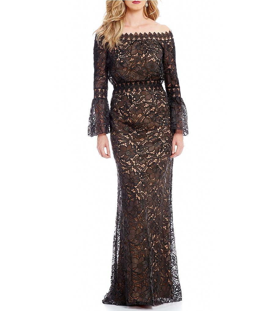 Tadashi Shoji Off-The-Shoulder Bell Sleeve Lace Gown