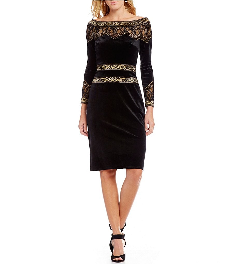 Tadashi Shoji Off-the-Shoulder Velvet Sheath Dress