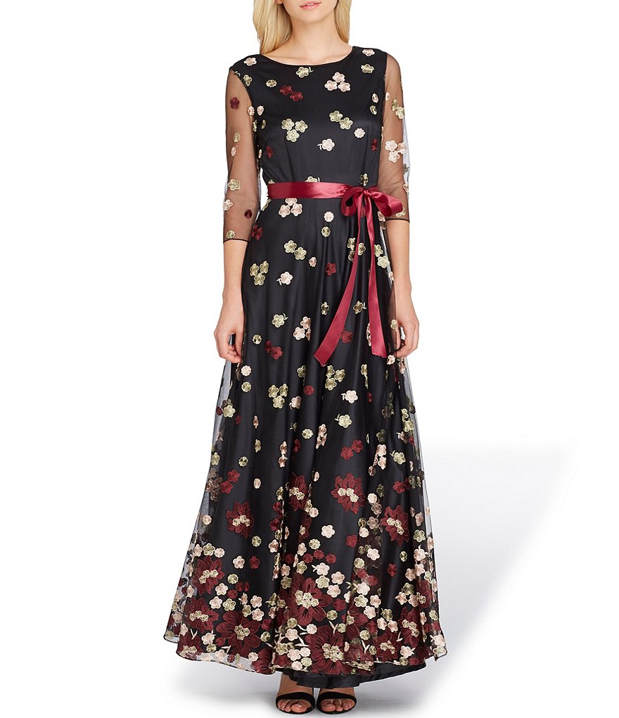 Tahari ASL 3/4 Sleeve Embroidered Gown