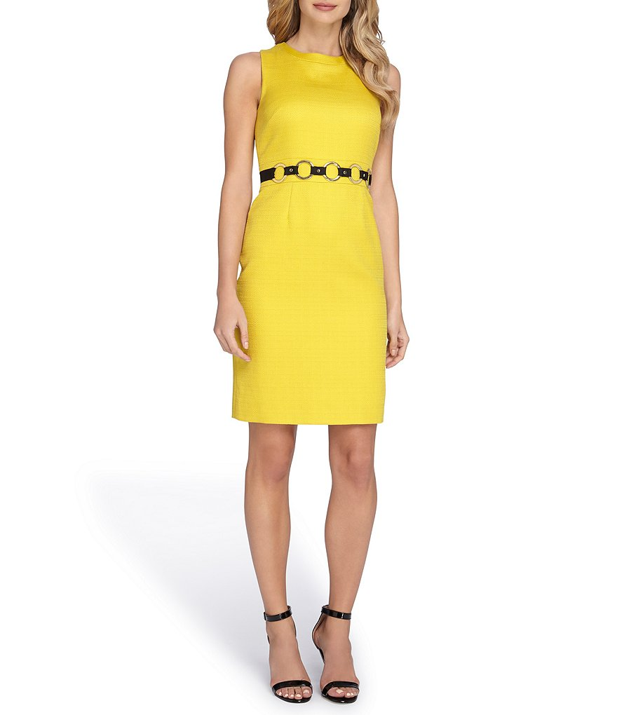 Tahari ASL Belted Basket Weave Dress