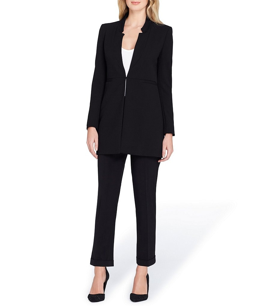 Tahari ASL Bi-Stretch Star Neck Topper Jacket 2-Piece Pant Suit