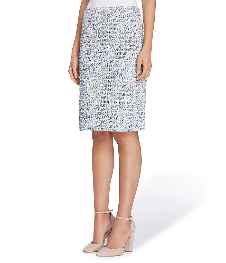 Tahari ASL Boucle Skirt With Pearl Chain Belt