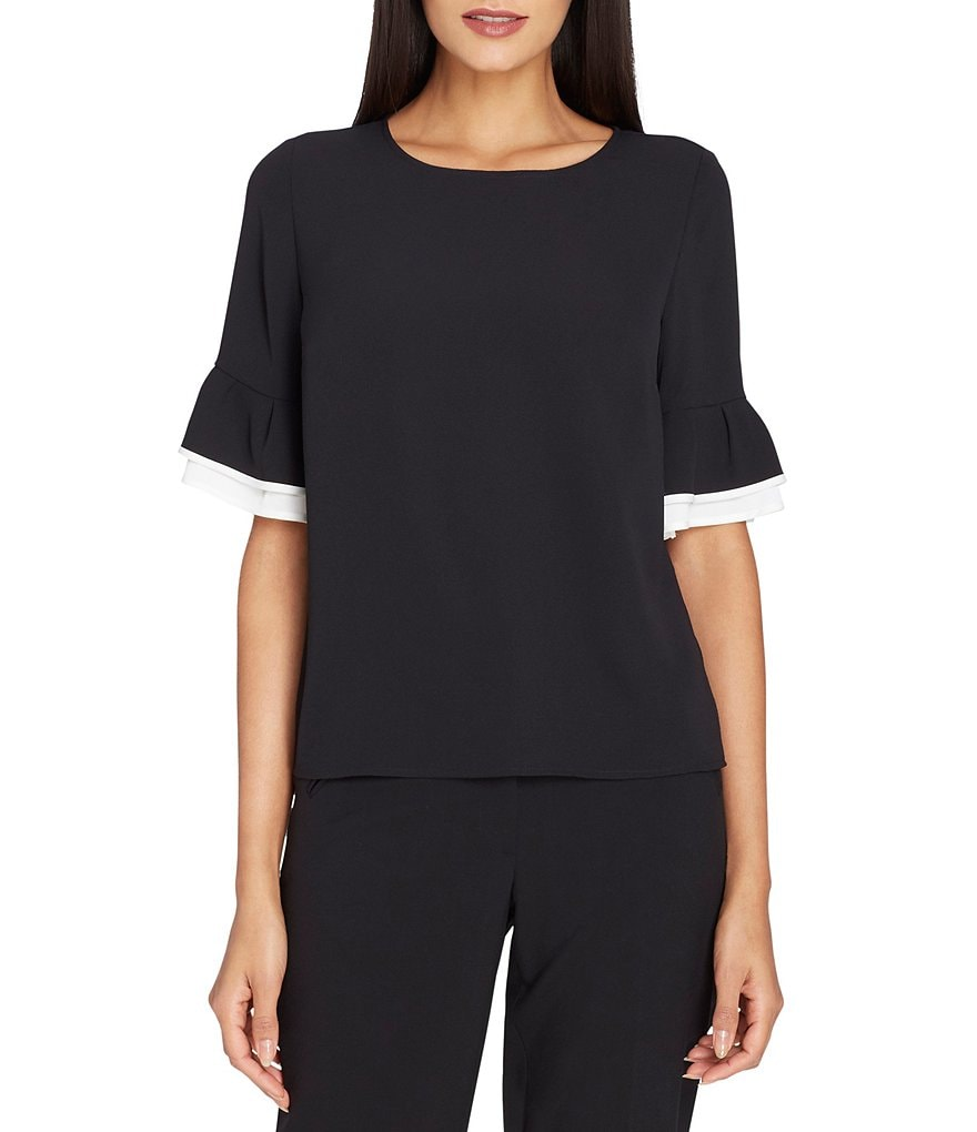 Tahari ASL Contrast Two-Tier Ruffle Short Sleeve Blouse