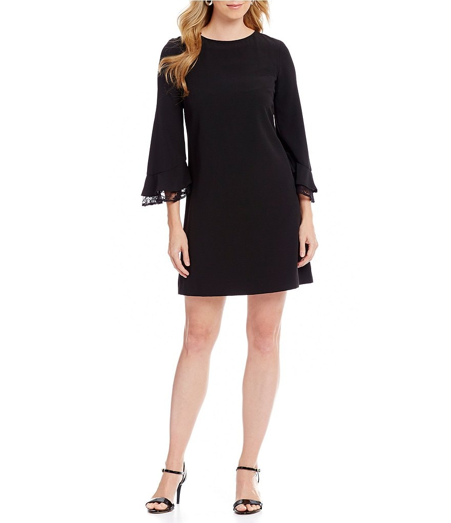 Tahari ASL Crepe Lace Ruffle Bell Sleeve Shift Dress