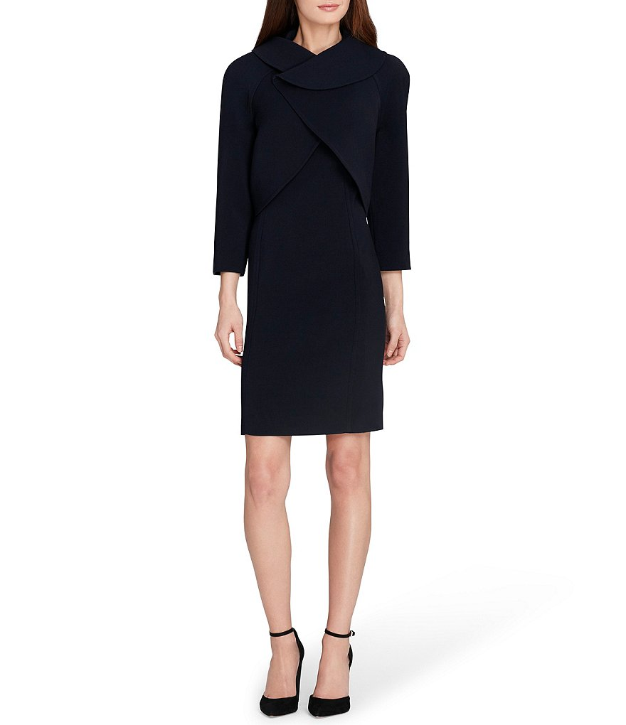 Tahari ASL Crossover Neckline Dress Suit