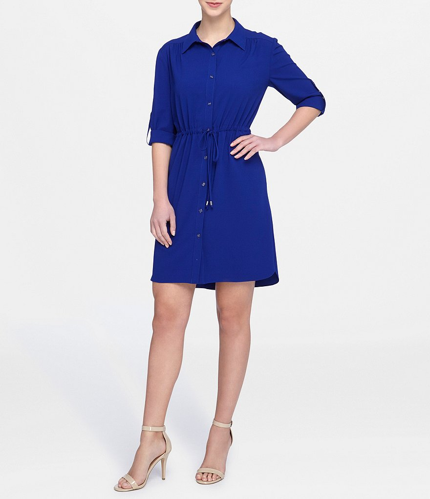 Tahari ASL Denim Cinch Waist Shirtdress