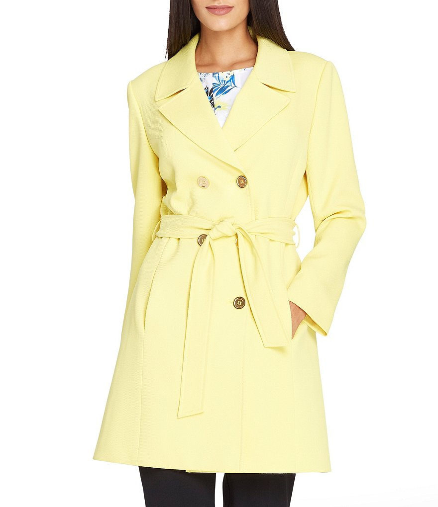 Tahari ASL Double Breasted Twill Trench Coat