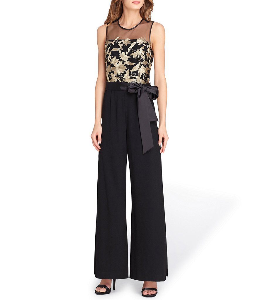 Tahari ASL Embroidered Bodice Jumpsuit