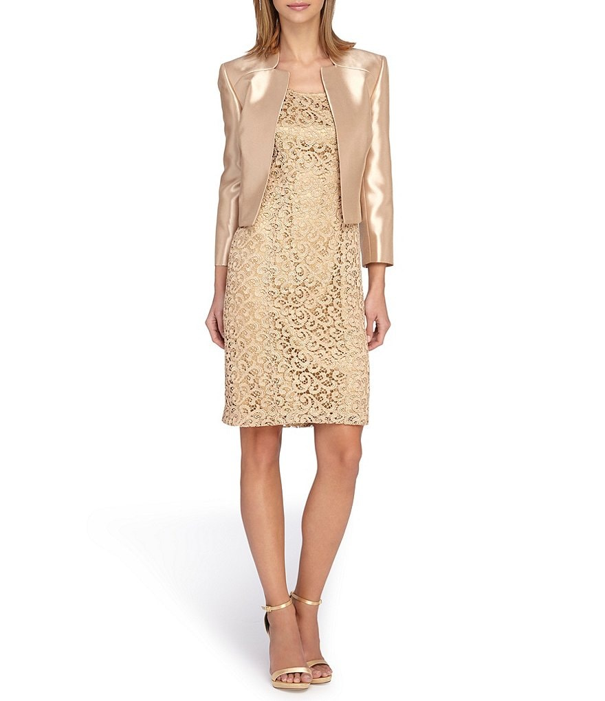 Tahari ASL Embroidered Lace Jacket Dress Suit