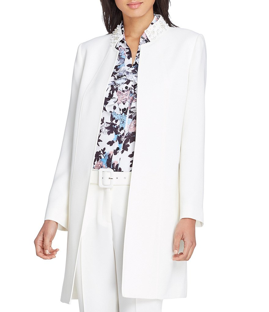 Tahari ASL Faux Pearl Embellished Stand Collar Crepe Topper Jacket