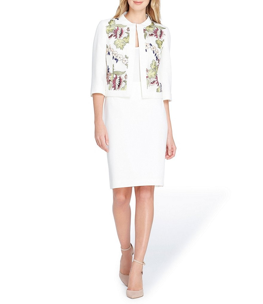 Tahari ASL Floral Embroidered Mesh Panel Crepe Jacket Skirt Suit