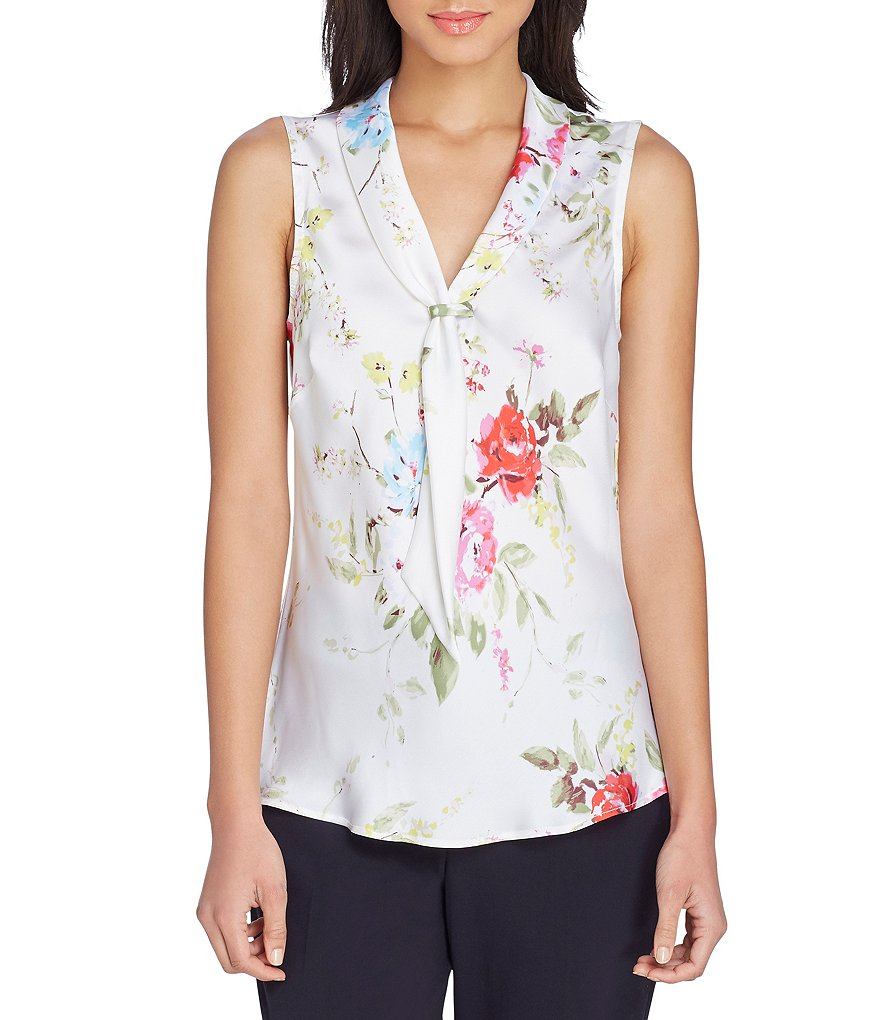 Tahari ASL Floral Print Charmeuse Sailor-Tie Neck Shell