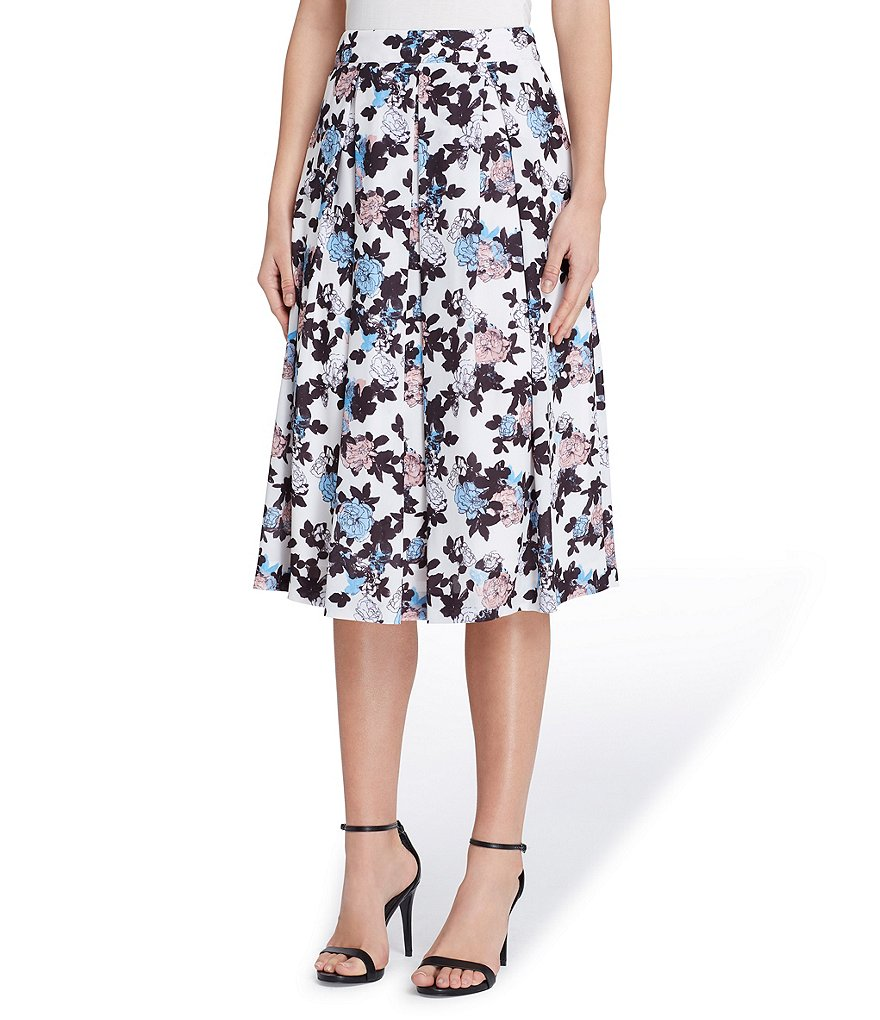 Tahari ASL Floral Print Georgette Inverted Pleat Midi Skirt