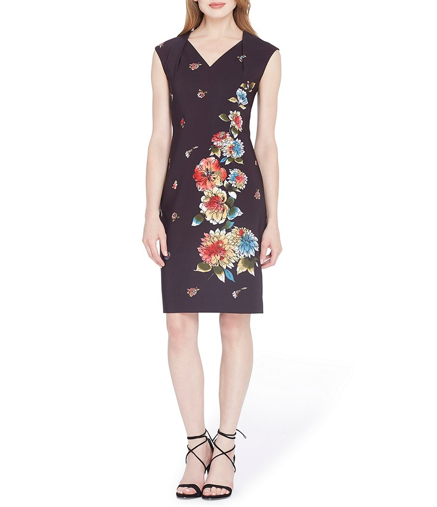 Tahari ASL Floral V Neck Sheath Dress