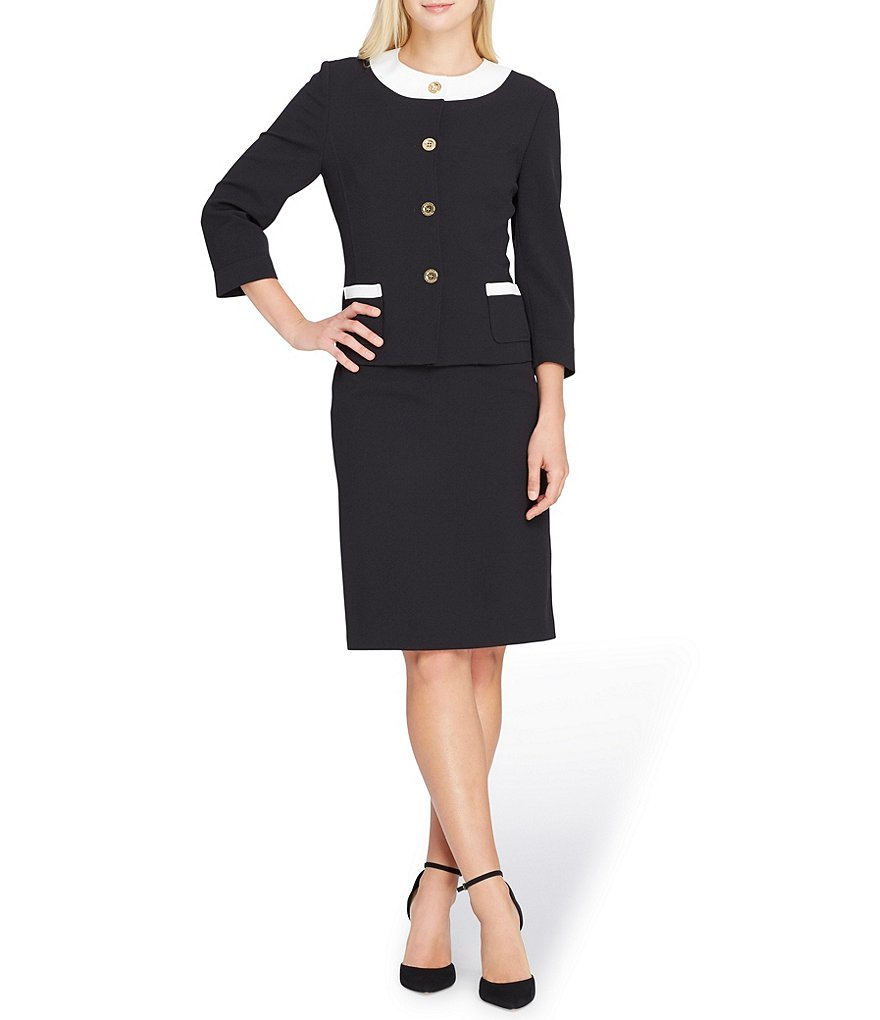 Tahari ASL Framed Neck Skirt Suit