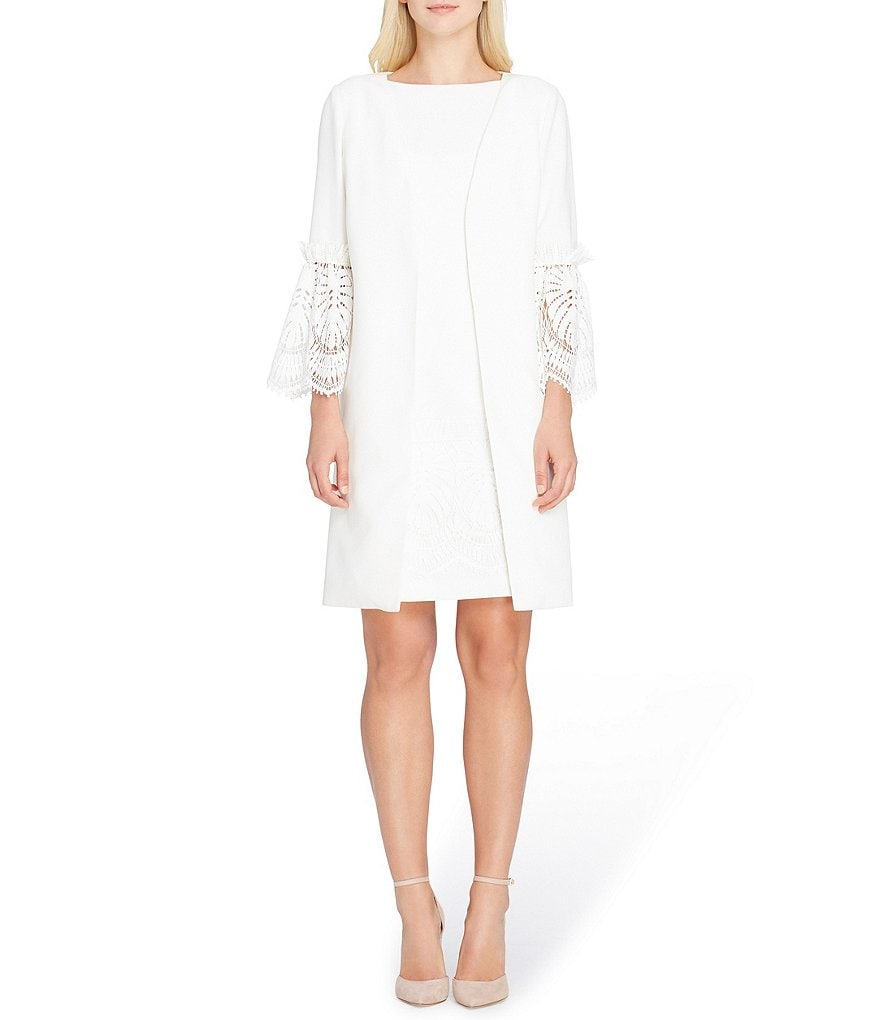 Tahari ASL Lace Bell Sleeve Jacket Dress Suit