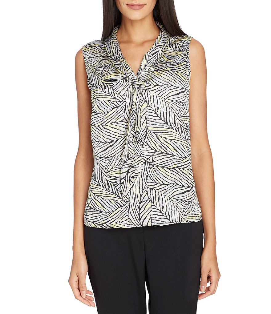 Tahari ASL Leaf Print Charmeuse Sailor-Tie Shell Blouse