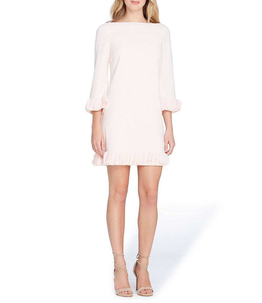 Tahari ASL Long Sleeved Laser Dot Trimmed Shift Dress