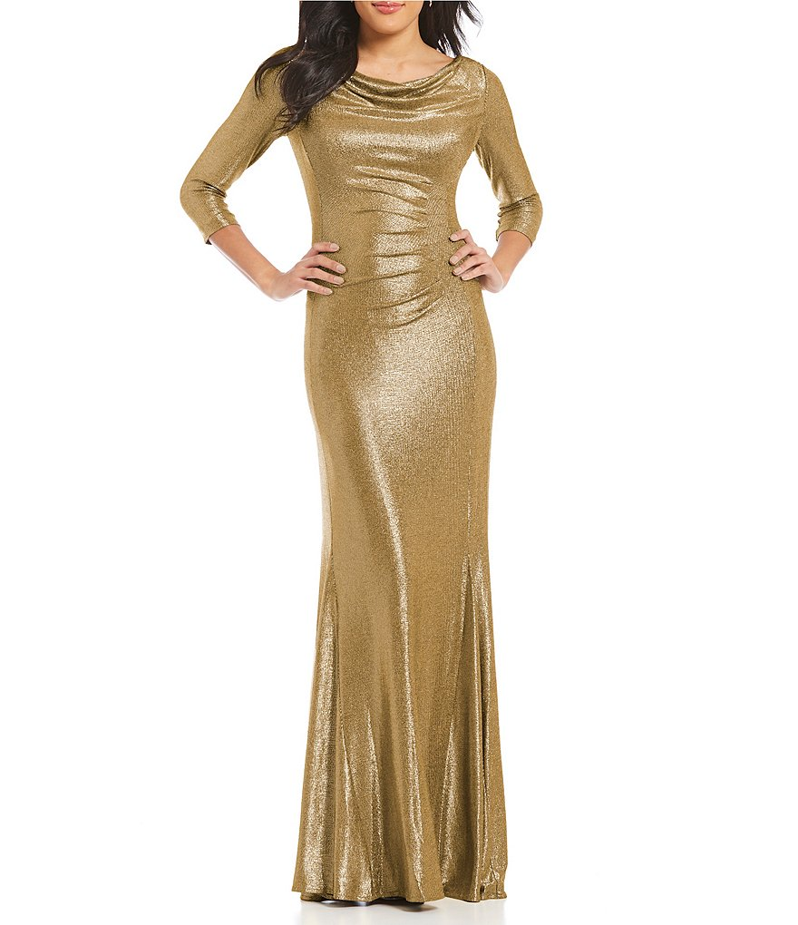 Tahari ASL Metallic Knit Cowl Neck Gown