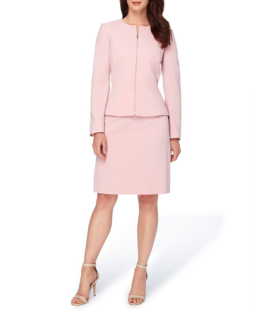 Tahari ASL Notch Collar Crepe Zip-Front Skirt Suit