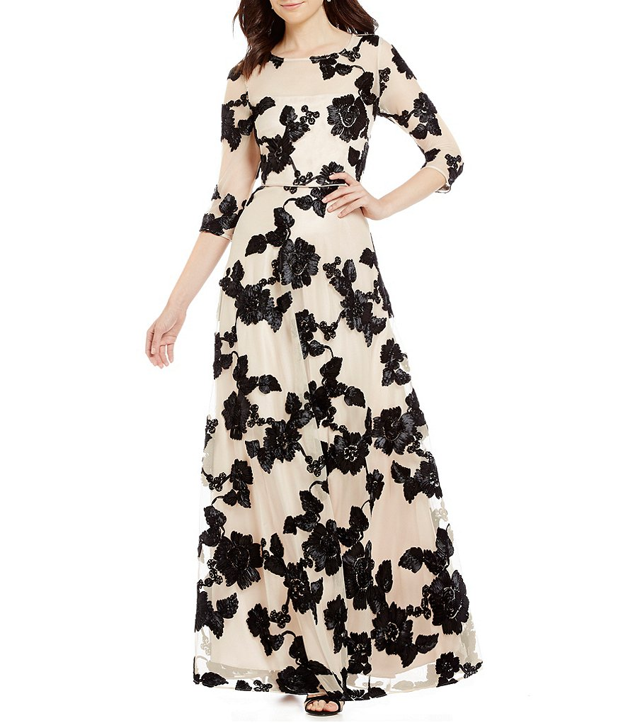 Tahari ASL Novelty Embroidery Gown
