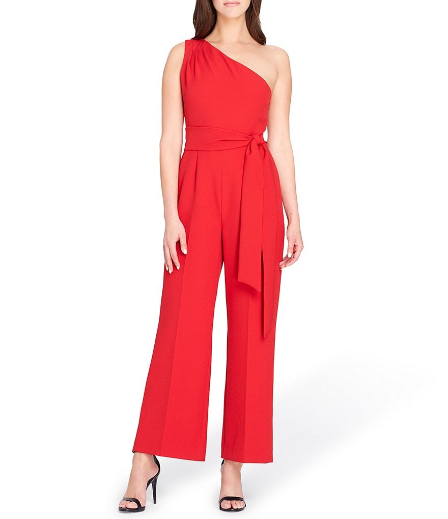 Tahari ASL One Shoulder Crepe Jumpsuit