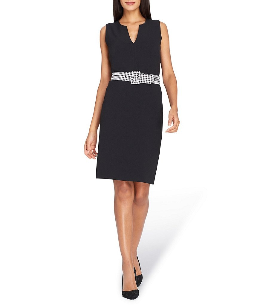 Tahari ASL Pebble Crepe Sheath Dress with Gingham Belt