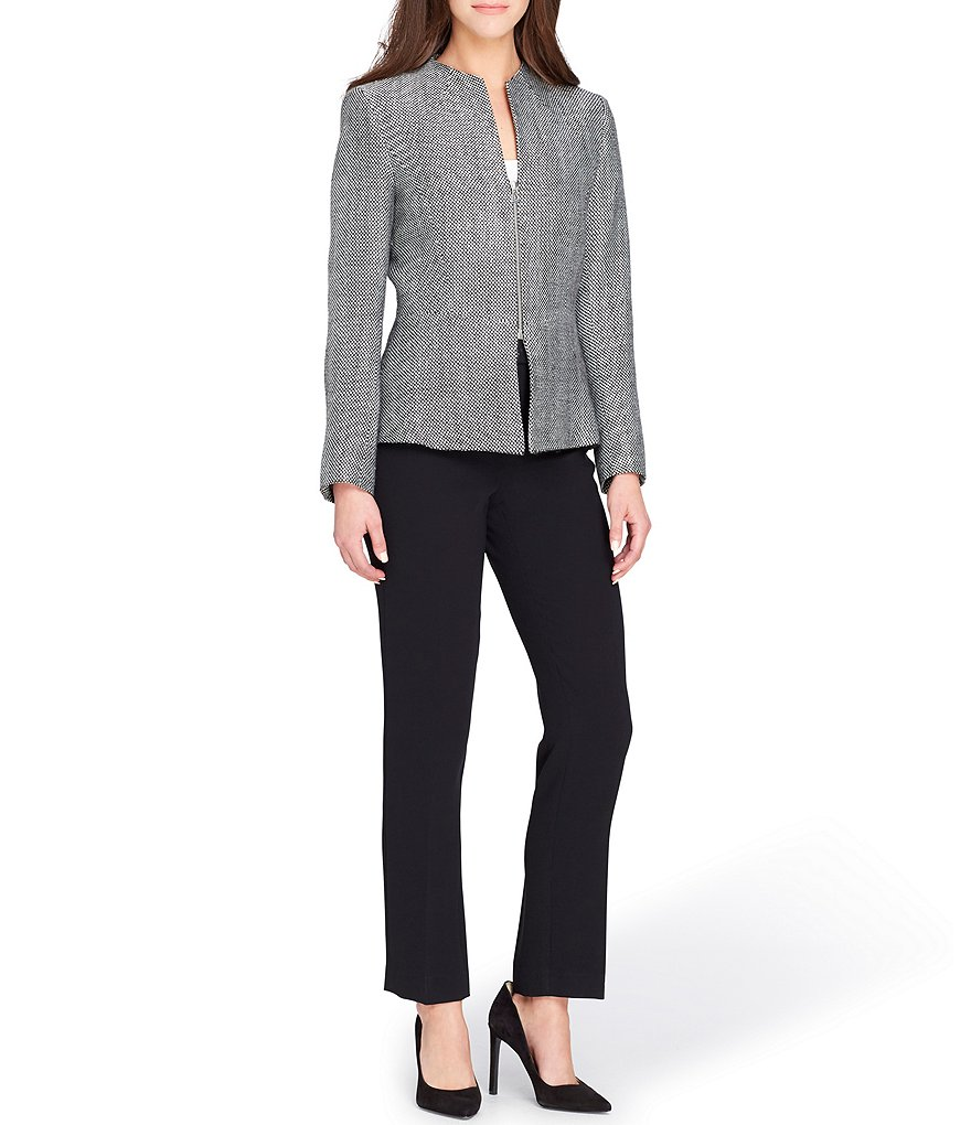 Tahari ASL Petite Collarless Peplum Novelty Jacket Pant Suit