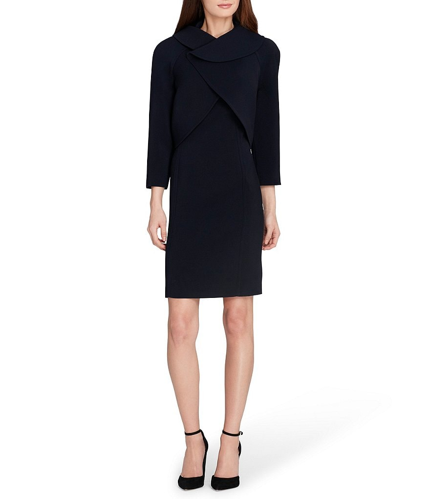 Tahari ASL Petite Crossover Neckline Dress Suit
