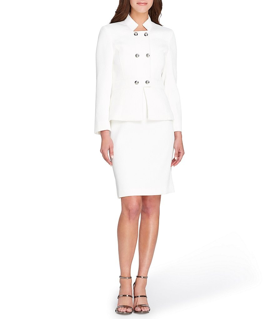 Tahari ASL Petite Double-Breasted Peplum 2-Piece Skirt Suit