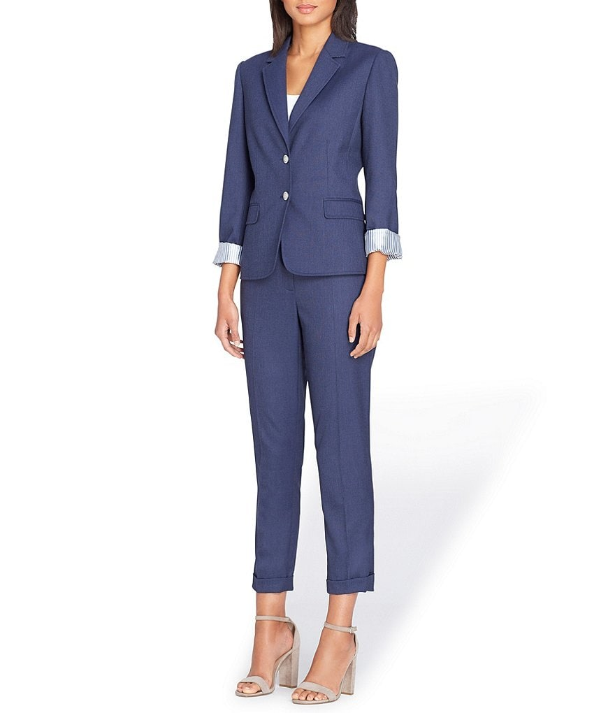 Tahari ASL Petite Dressy Denim Notch Collar Two-Button Jacket Pant Suit
