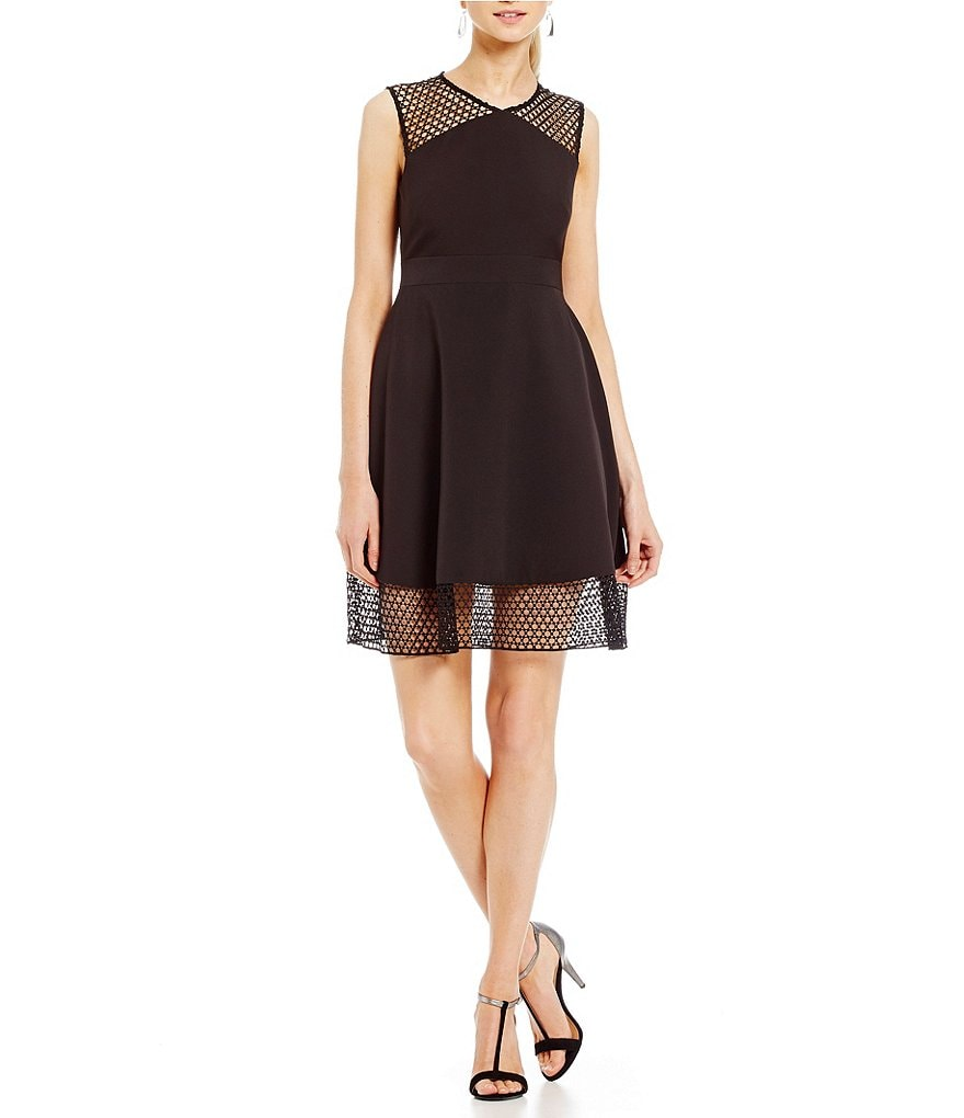 Tahari ASL Petite Illusion Fit-and-Flare Dress