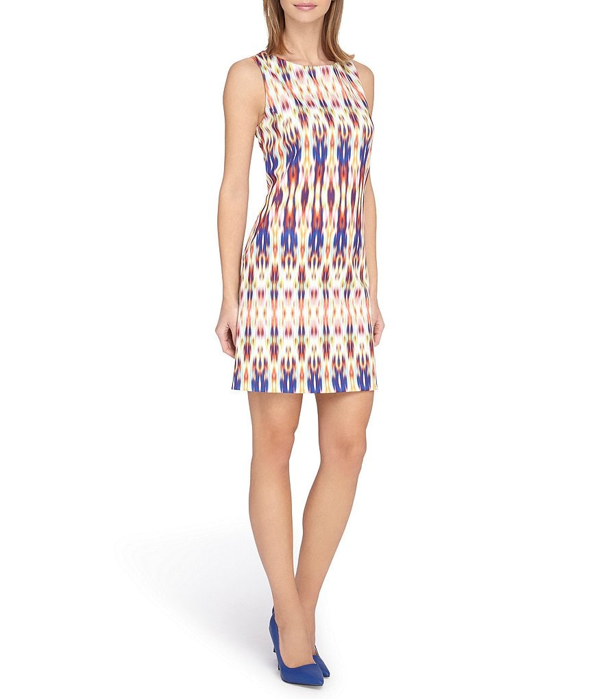 Tahari ASL Petite Printed Sleeveless Scuba Dress