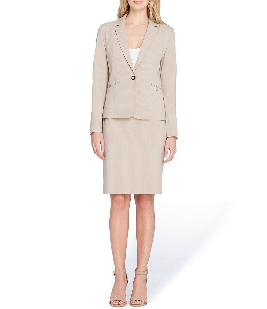 Tahari ASL Petite Size Notch Collar Besom Pocket Skirt Suit