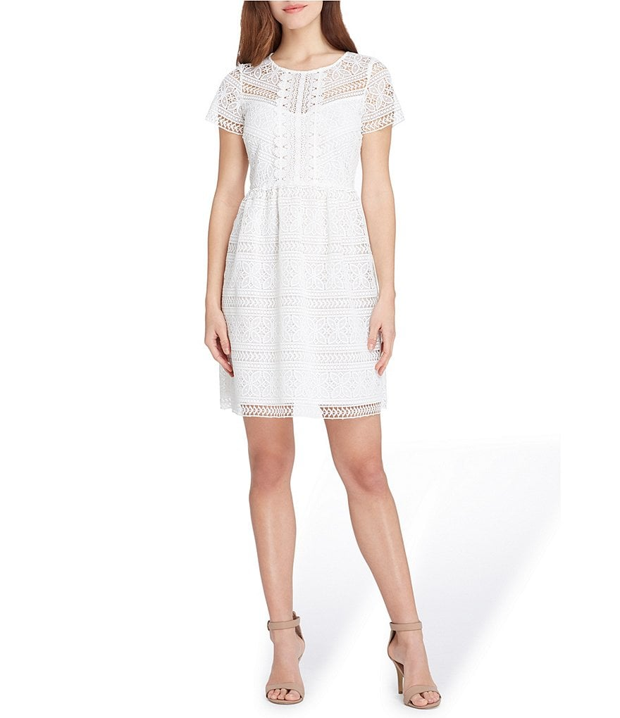 Tahari ASL Petite Size Short Sleeve Lace Fit & Flare Dress