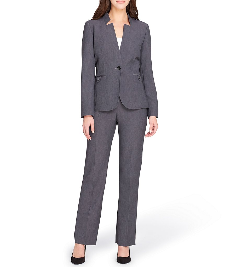 Tahari ASL Petite Star Neck Jacket Pant Suit