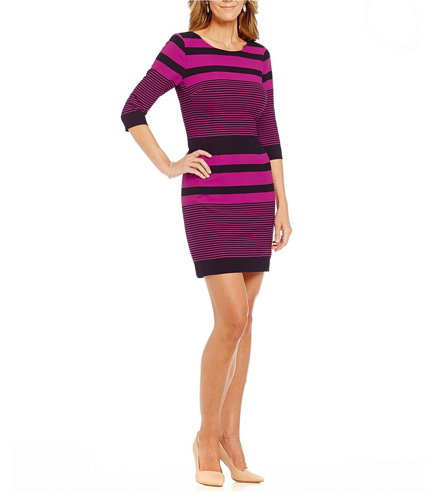 Tahari ASL Petite Striped Crepe Sheath Dress