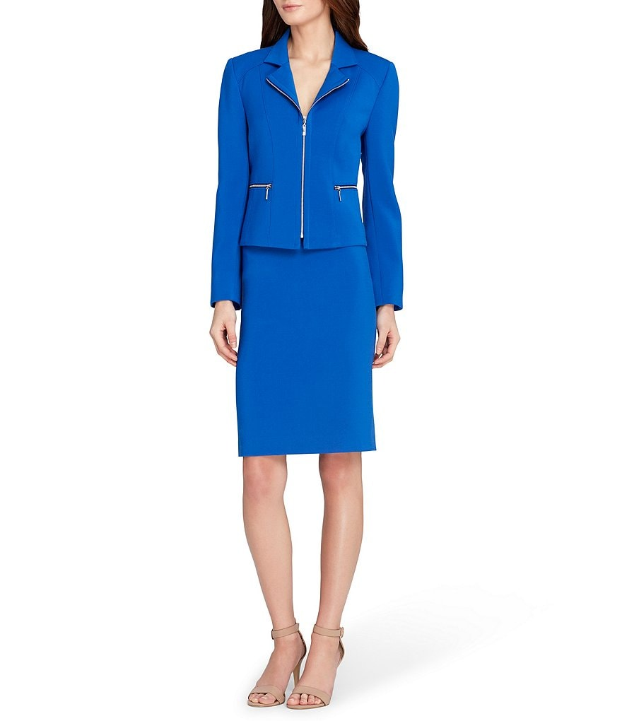 Tahari ASL Petite Zip Front Notch Collar Jacket 2-Piece Skirt Suit