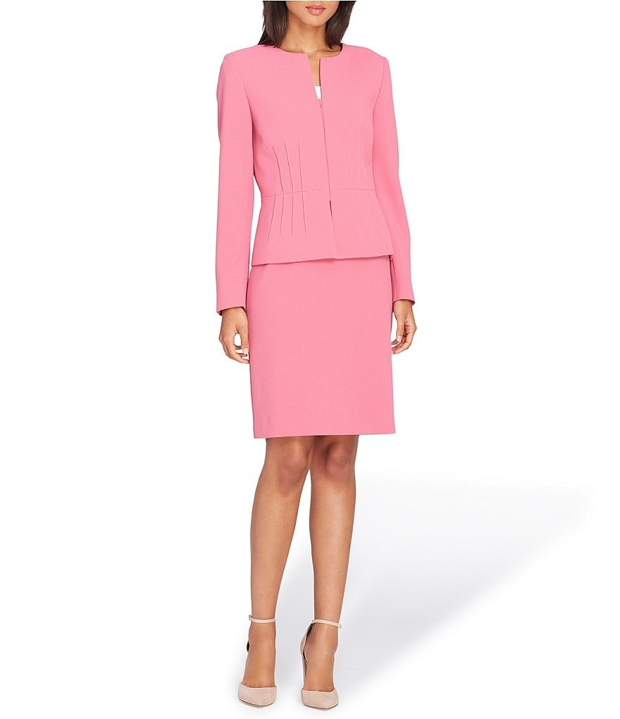 Tahari ASL Pintuck Peplum Jacket Skirt Suit