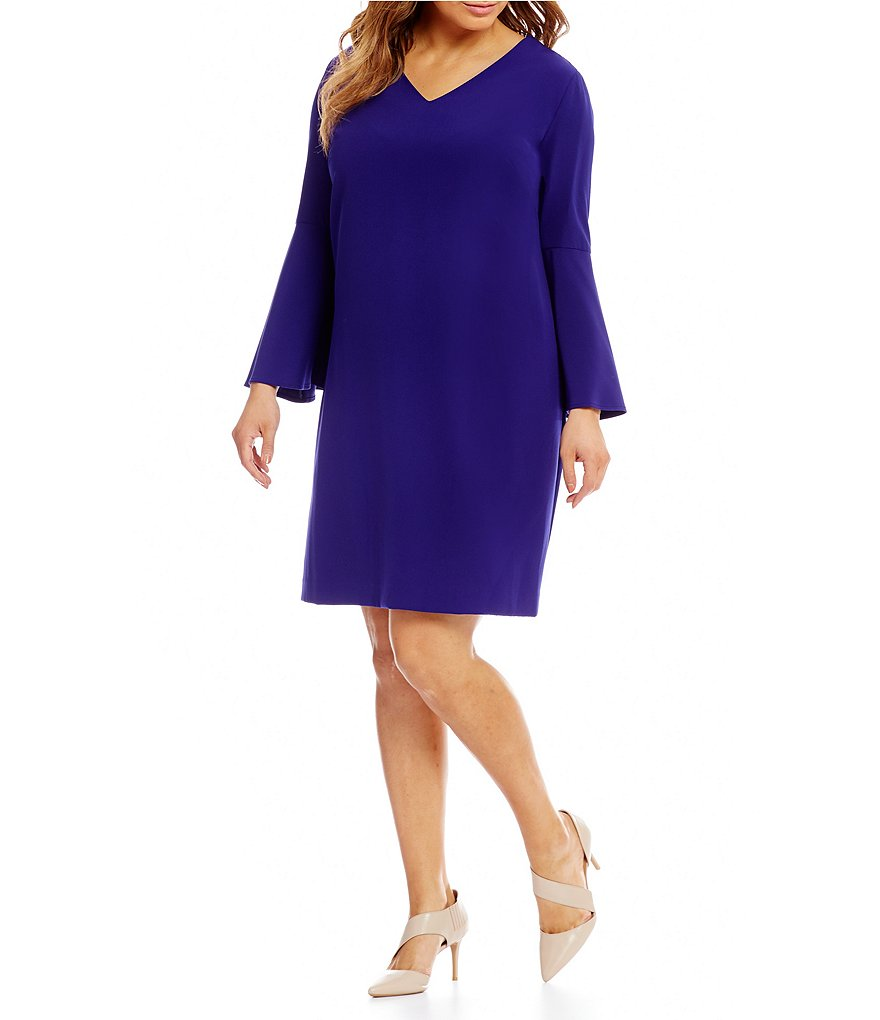 Tahari ASL Plus Bell Sleeve Shift Dress