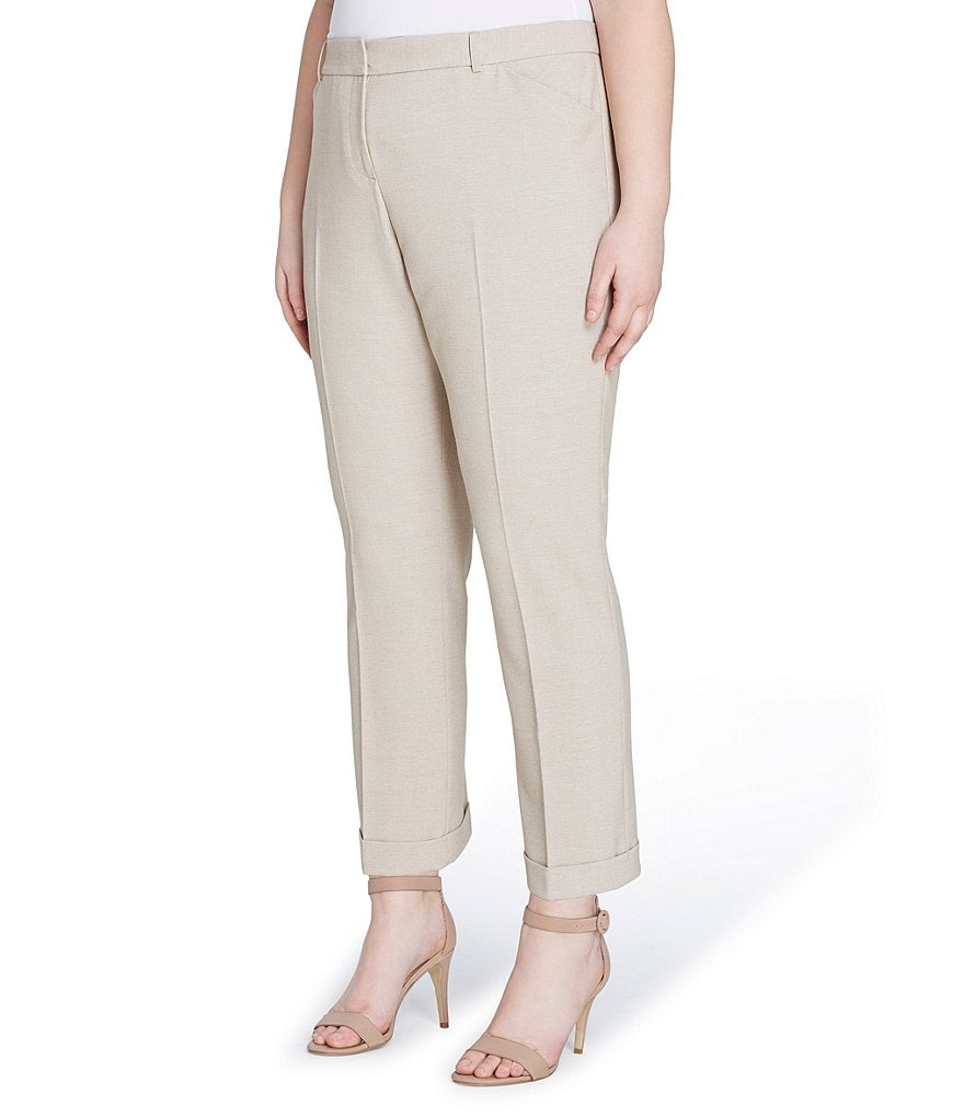 Tahari ASL Plus Bi-Stretch Cuffed Ankle Pants
