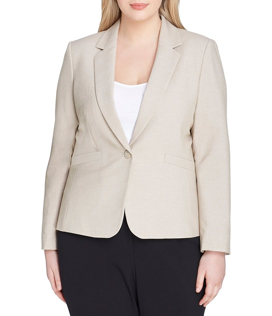 Tahari ASL Plus Bi-Stretch Notch Collar One-Button Jacket