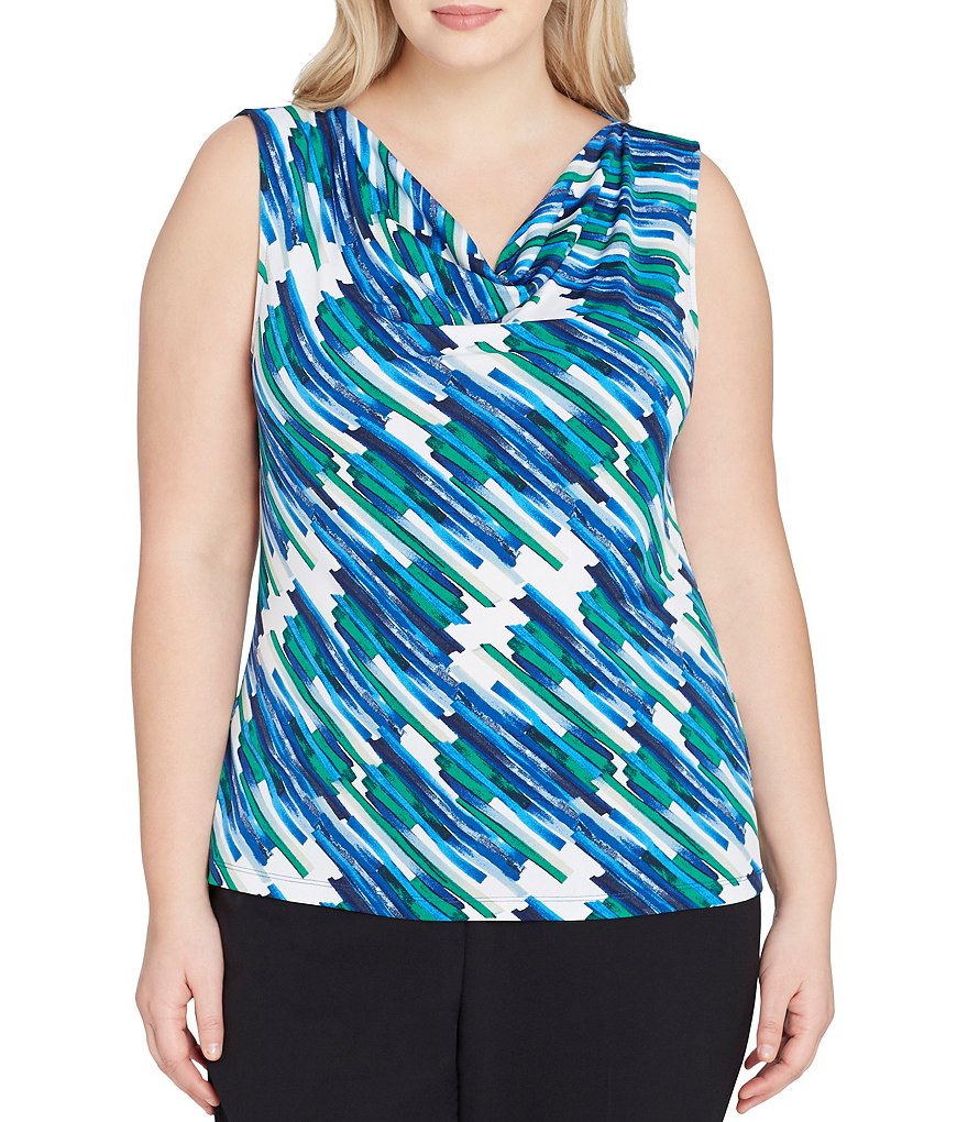 Tahari ASL Plus Cowl Neck Geometric Print Top