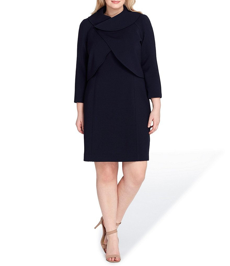 Tahari ASL Plus Crossover Neckline Dress Suit