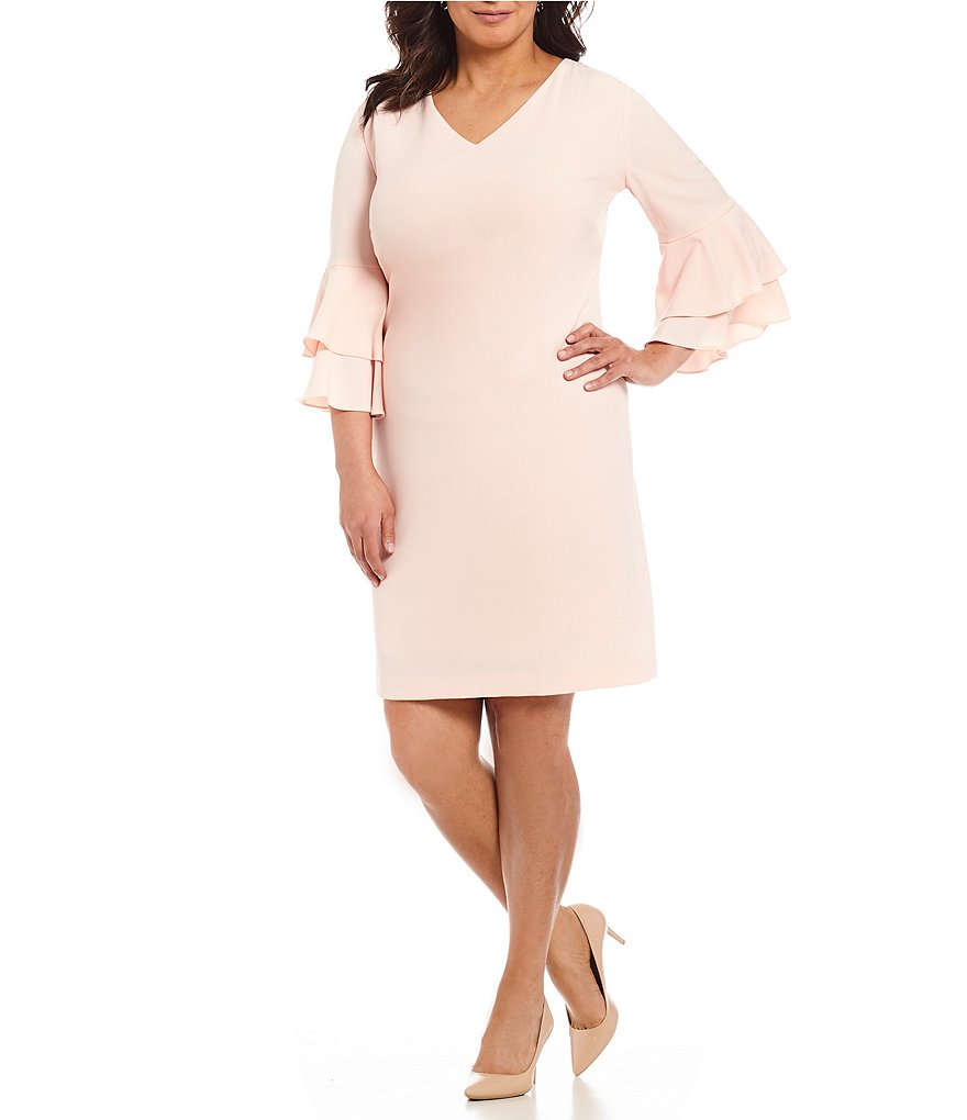Tahari ASL Plus Double Bell-Sleeve Shift Dress
