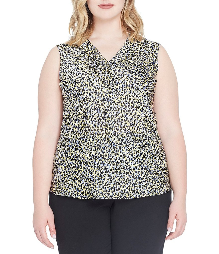 Tahari ASL Plus Printed Tie-Neck Blouse