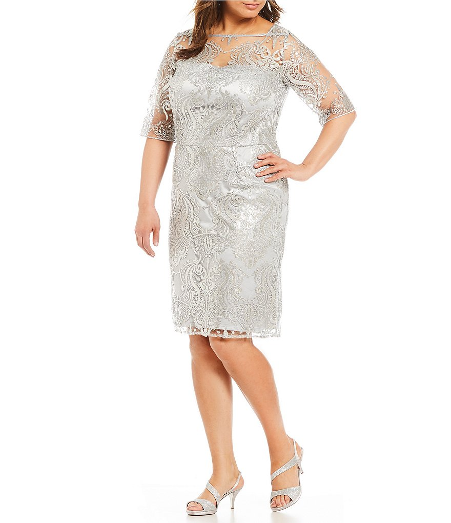 Tahari ASL Plus Sequin Embellished Sheath Dress