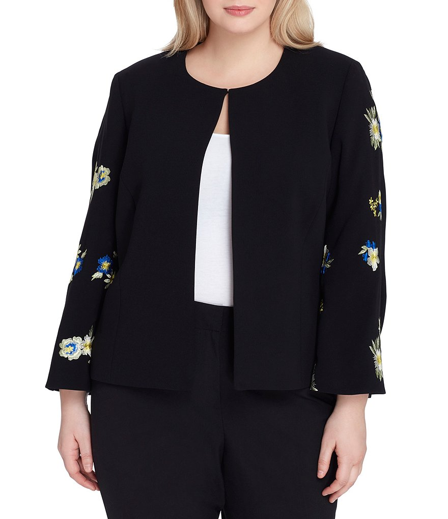 Tahari ASL Plus Size Embroidered Floral Kimono Sleeve Crepe Jacket