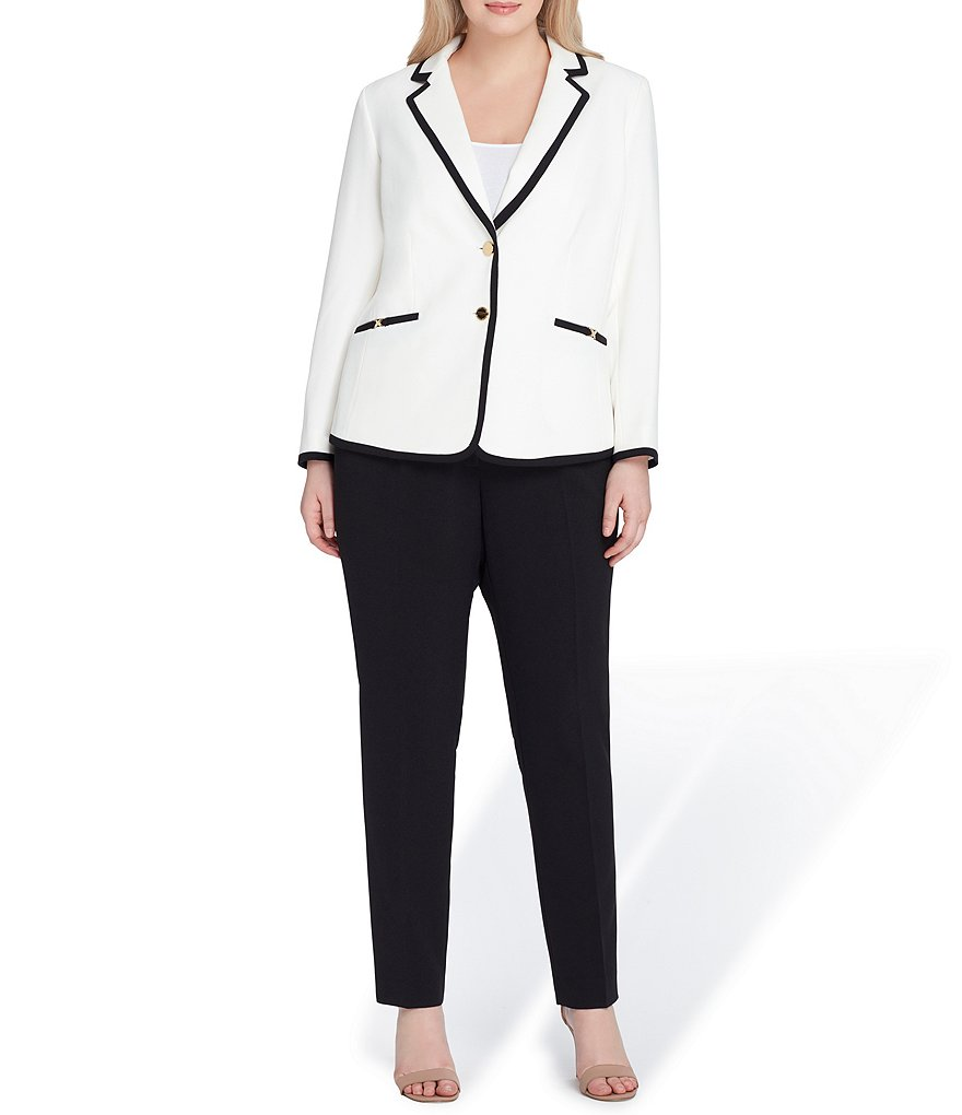 Tahari ASL Plus Size Framed Notch Collar 2-Piece Pant Suit