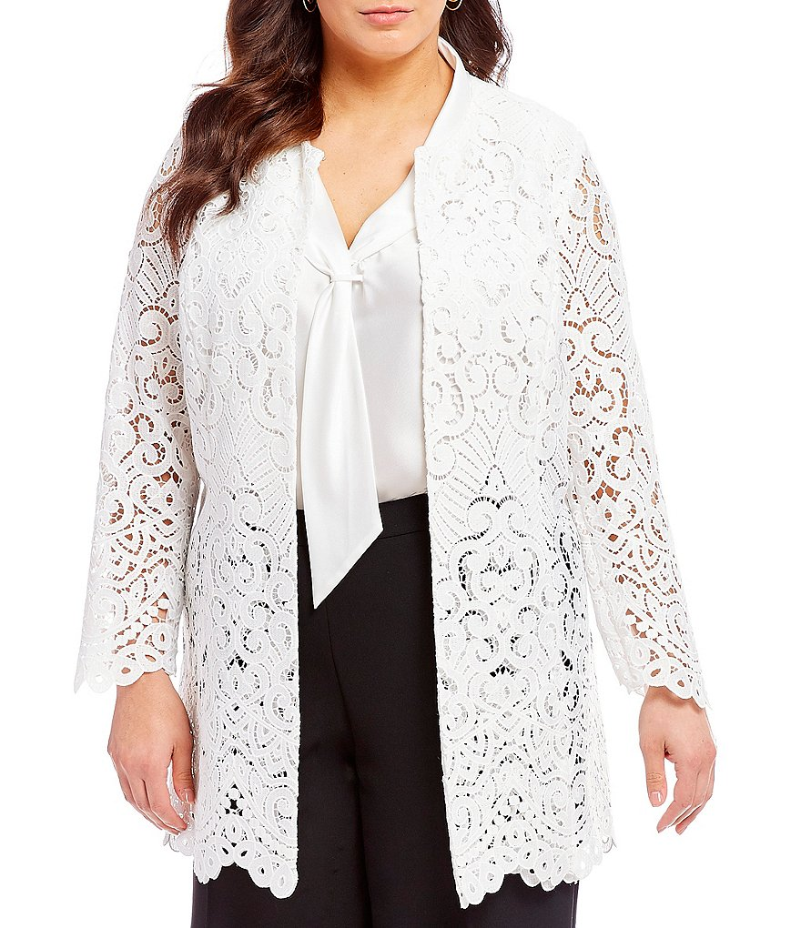 Tahari ASL Plus Size Lace Topper Jacket